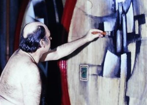 L. Ceschia al lavoro, 1983, foto d'epoca