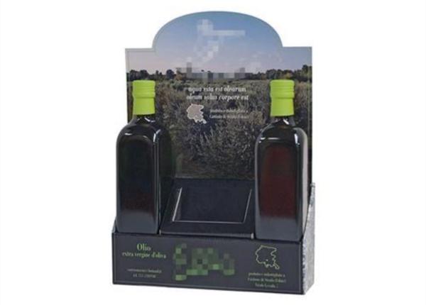 Espositore da banco con crowner per olio| Packaging - Espositori - Bag in Box